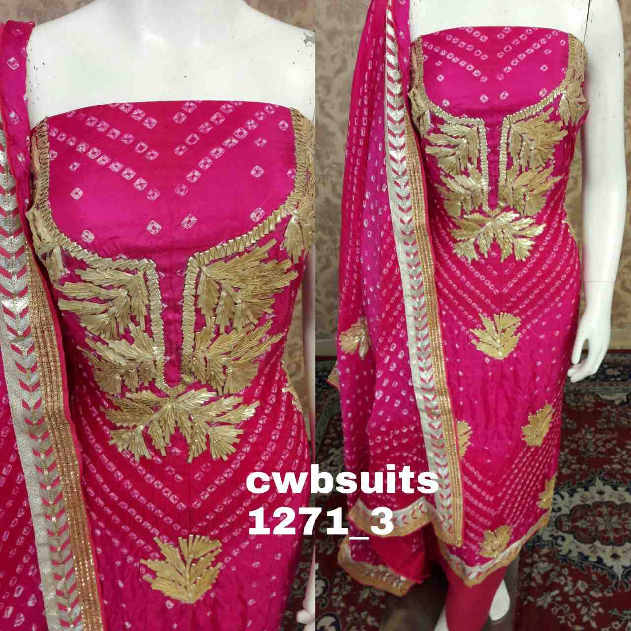 womenchoice art silk full suit of charkhi gota work