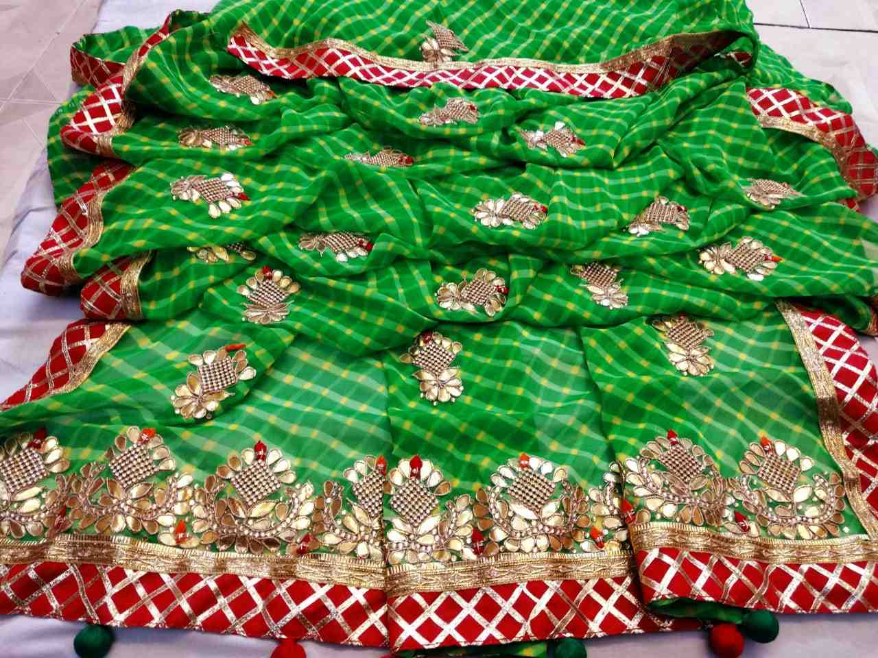 womenchoice georgette heavy gota patti work saree with running blouse