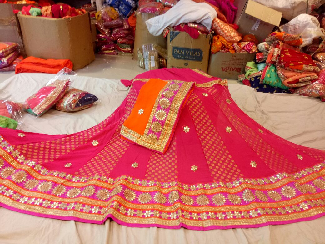 crepe lhengha choli heavy of heavy gota patti lace and