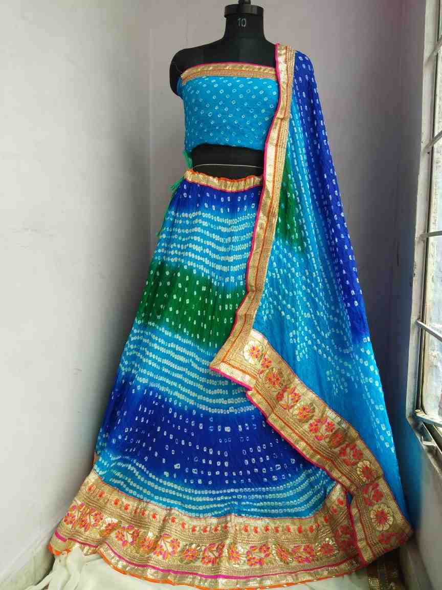 new wedding collection art silk bandhani stich heavy lace lhengha with dupptta and blouse