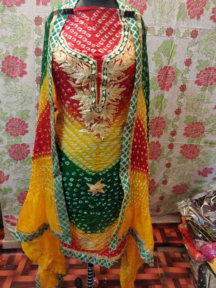art silk bandhani full suit of heavy charkhi gota work