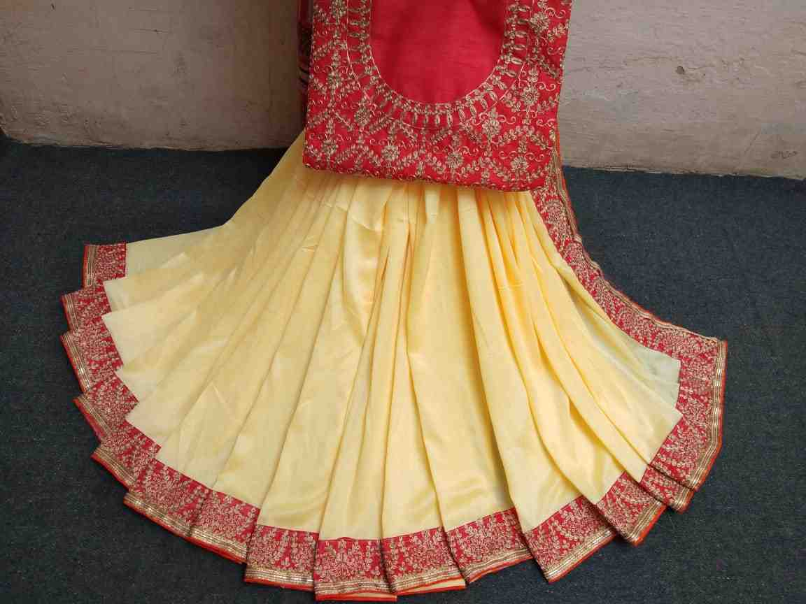 elegant vichitra saree of pittan work lace with gorgeouse heavy blouse