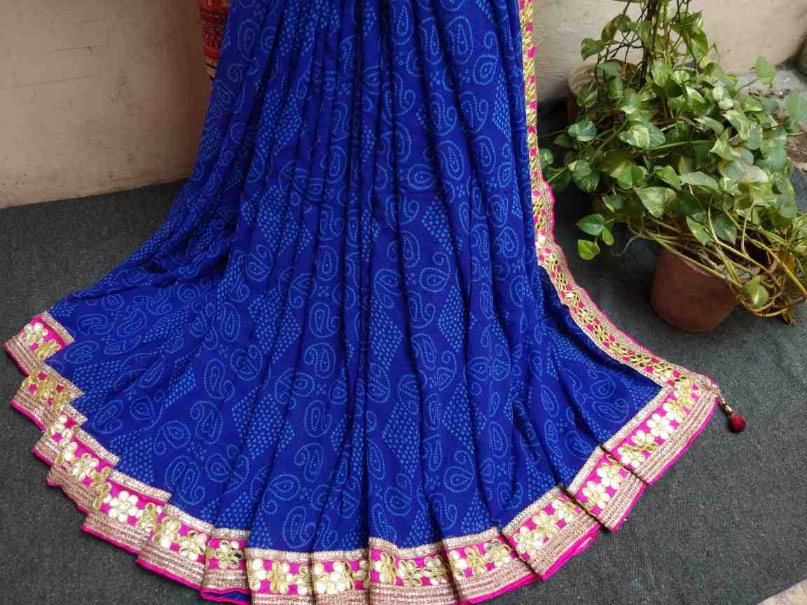 Beautiful georgette bandhani gota patti saree of gota patti lace