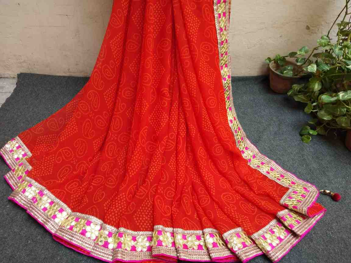 beautiful georgette bandhej saree of gota patti lace