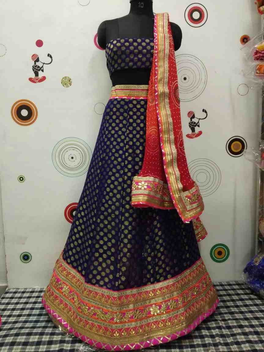 brocade heavy lhengha choli with pure chinon dupptta set