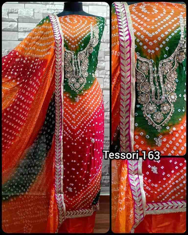 Gorgeous unstitched art silk bandhani full salwar suit