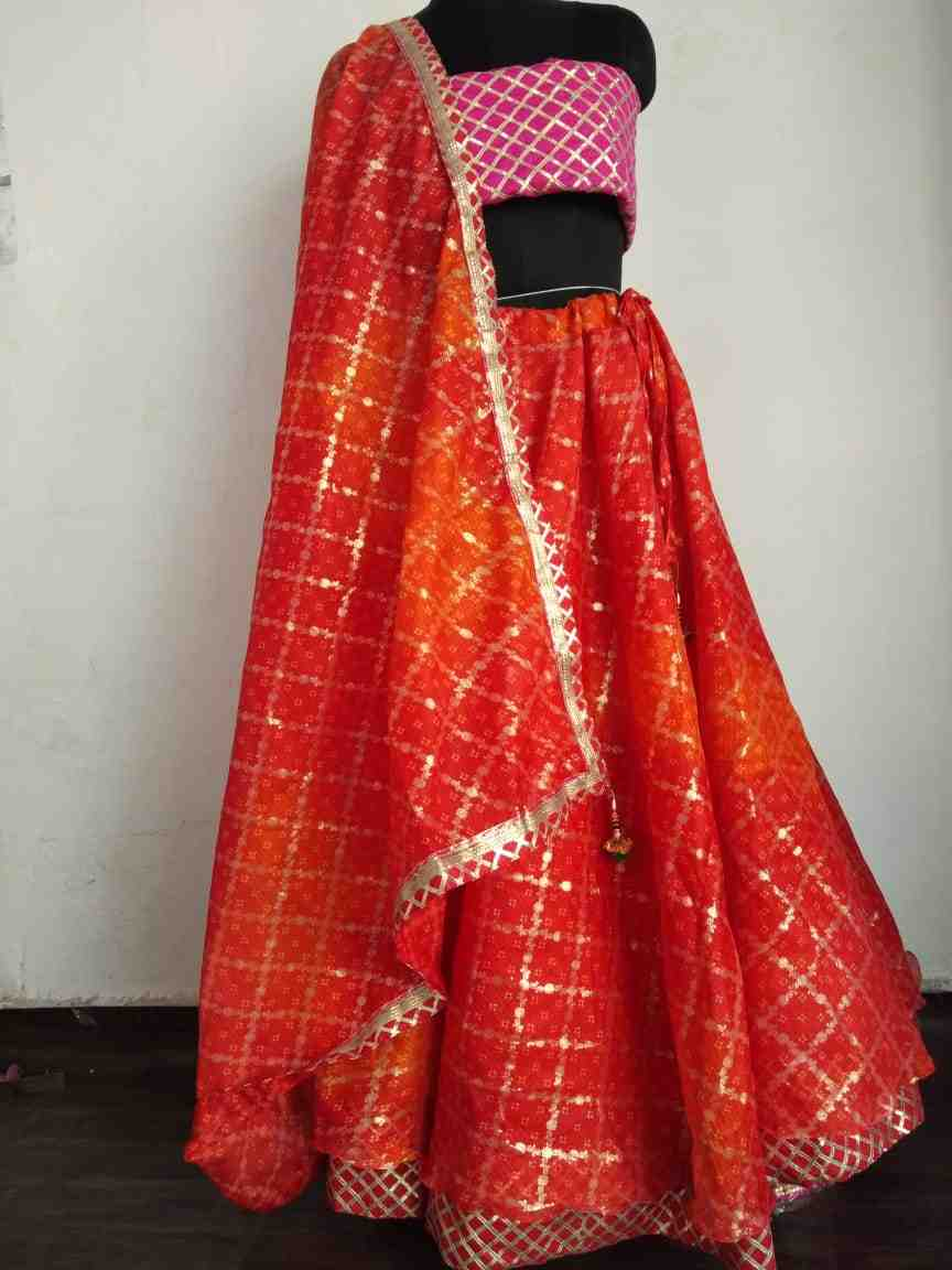 fabulous festive wear double layer gota lace kota doriya skirt with stunning matching dupptta and gota blouse