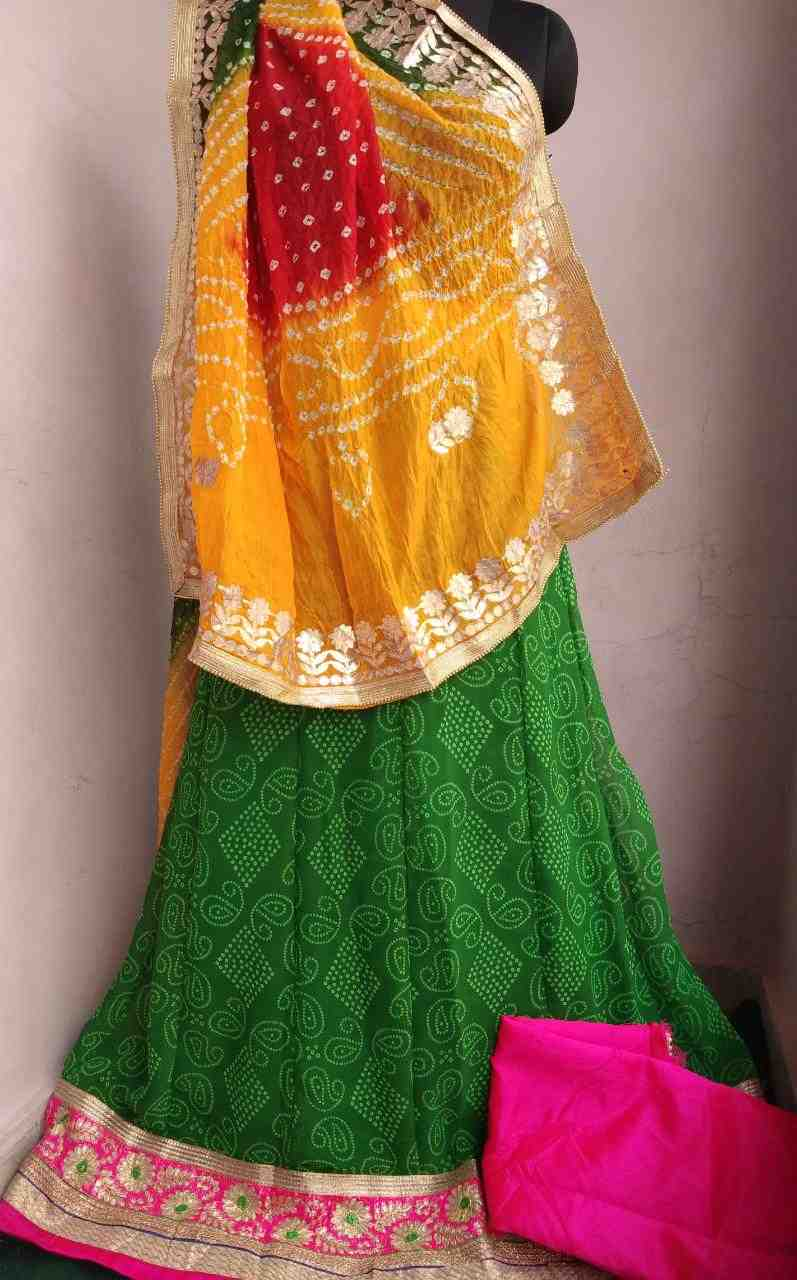 georgette lhengha of gota patti lace with art silk heavy work dupptta with dupin blouse