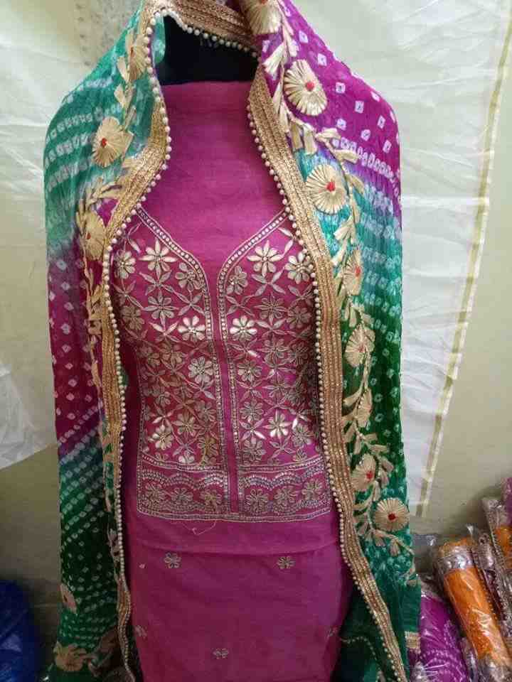 chanderi kurti of heavy gota patti work with art silk bandhej heavy work dupptta