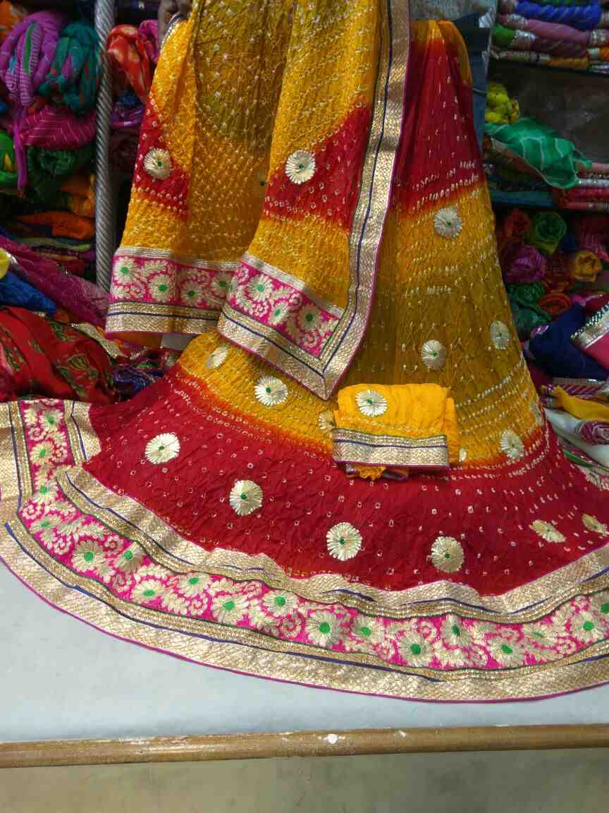 women choice art silk bandhani heavy gota patti work lhrngha choli set
