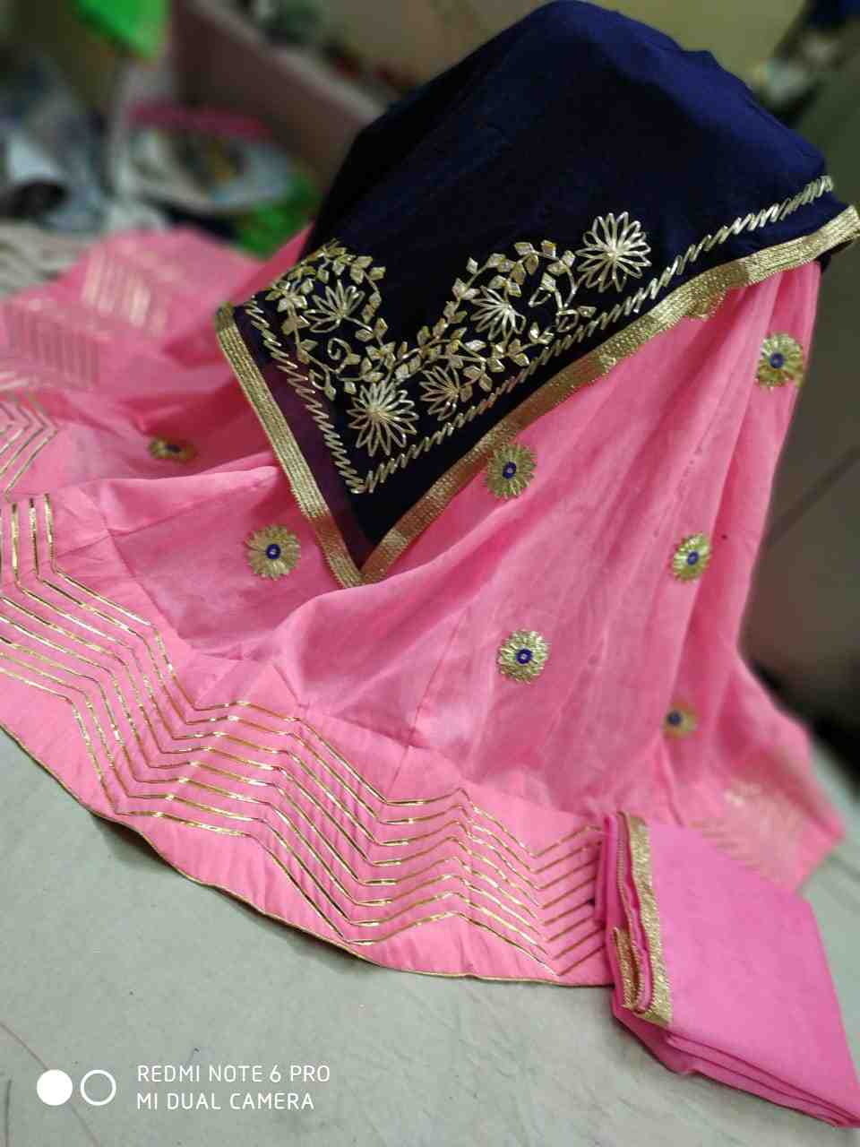 women choice banglori silk lhengha with pure georgette heavy gota patti work dupptta