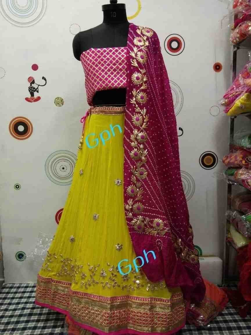 women choice heavy gota patti zaal work crepe lhengha with heavy gota patti art silk dupptta