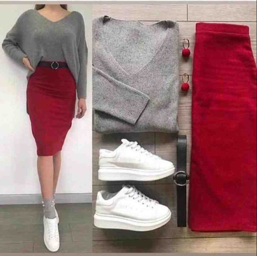 beautiful party wear dress set of two peice one red  skirt and one grey  top