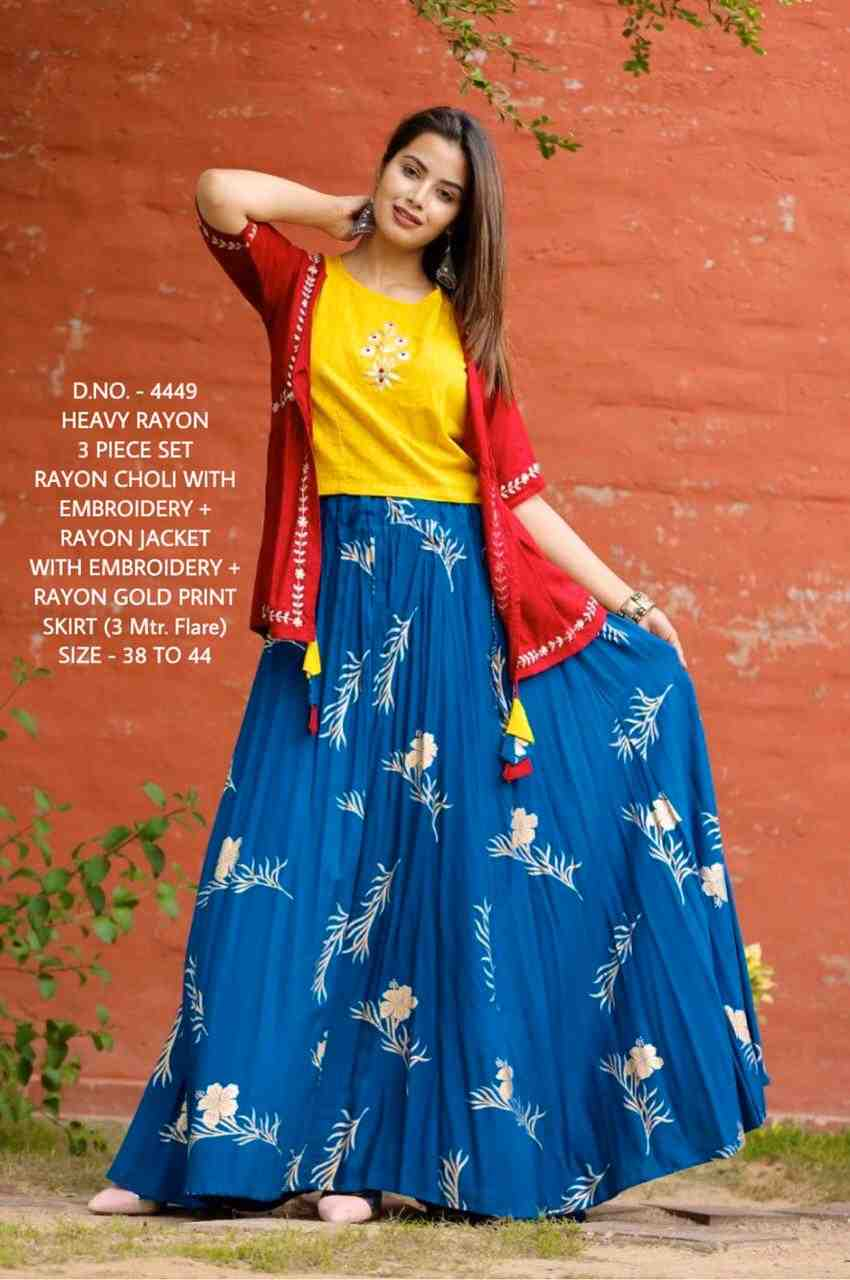new trendy traditional look embroidery work choli+gold print skirt+detachable jacket